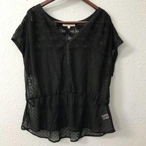 Daniel Rainn sheer polka dot peplum shirt size XL